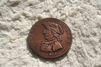 1792 Gr. Britain Birmingham 1/2 Penny Token General Elliot