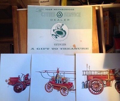 Vintage Cities Service Dealer Gift To Treasure,Firefighters Of Yesteryear Prints