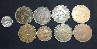 Australia Coins Small lot . Nine Coins  0ne penny ,5 cent