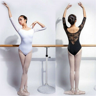 Black or White Girl Woman Ballet Dance Leotard Gymnastic 3/4 Sleeve Cotton Lace