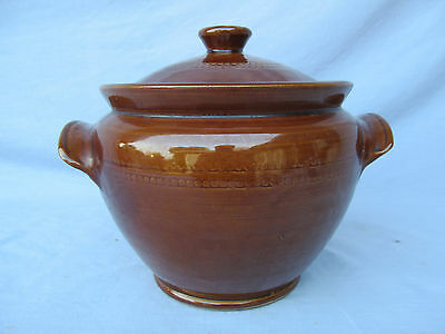Vintage Pearsons of Chesterfield Glazed Pottery Crock Bean Pot w/ Lid England