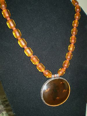 Vintage Antique Tibetan Amber necklace silver frame and silver clasp
