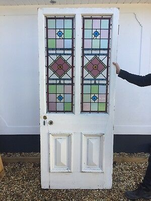 1 Large Victorian Stained Glass Front Door Hardwood Reclaimed Old Period Antique