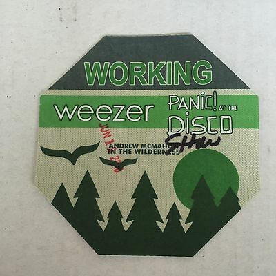 PANIC AT THE DISCO and WEEZER TOUR LOCAL WORKING CREW BACKSTAGE PASS NEW