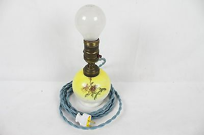 Vintage Round Milk Glass Lamp Antique Old Floral Design Yellow Rare Light Cool