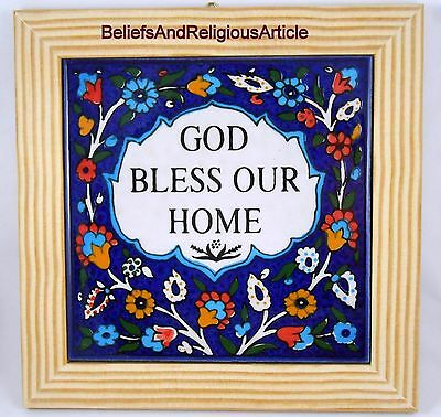 Armenian Handmade Decor Ceramic Tile Wood Frame Wall hanging Tray Home Blessing
