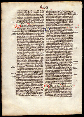 1494 Incunable Leaf The City of God  St Augustine of Hippo Commentary Christian