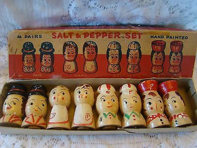 Vintage Salt Pepper Shaker Set Salty Peppy Family Wooden Wood Japan In Box Lot 8
