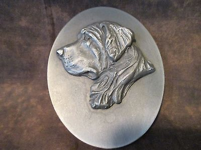 Louise Shattuck Hudson pewter metal St. Bernard DOG HEAD STUDY plaque