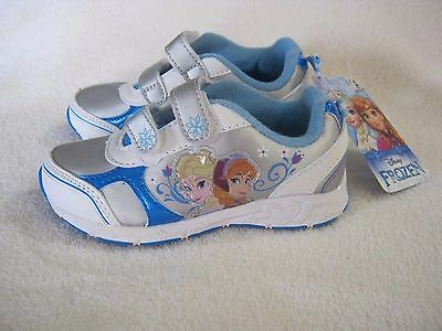Disney Frozen Toddlers Girl/'s White//Blue Sparkle Ligth Up Sneakers-Asst Size NWB