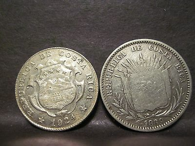 Costa Rica, 25 Centimes 1924, 50/25 Centimos - Counterstamped 1924/1889