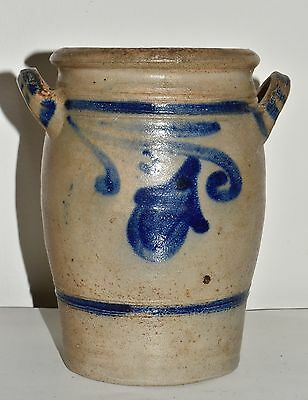 Vtg Small German 3 Pints Stoneware Crock Salt Glaze Blue Decorated #2