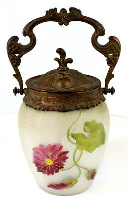 Vintage Victorian Biscuit Cookie Jar with Flower Artwork Beautiful
