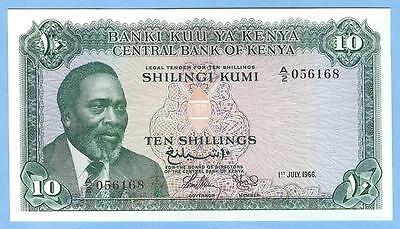 Banknote Money Currency from Kenya--10 Shillings, 1966--UNC!