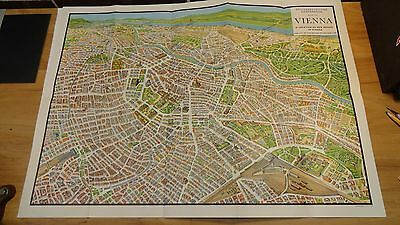 1958 Map of Austria, Beautiful fold out illustration of the city Vienna
