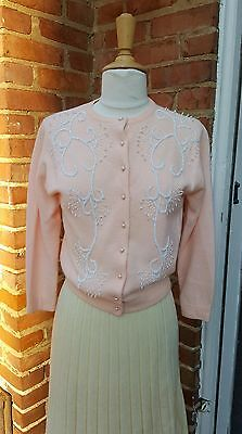 Vintage 1950's Pink Sweater White Beaded **Free shipping**