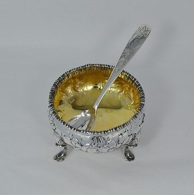 Rare S. Kirk & Son Repousse Coin Silver Salt Cellar & Etched Spoon C 1846-1896