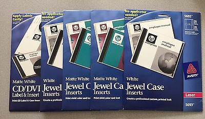 LOT OF 5! AVERY 5693 5696 6693 Jewel Case Inserts White Laser / Color Laser