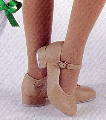 New/Box Tan Tap Shoes Girls/ ladies szs U Shells Scoops buckleovers 3507 2wdth