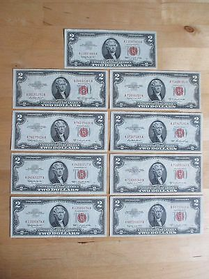 Lot Of 9 - $2.00 Red Seal Us Notes - 1953 And 1963 - Higher Grades