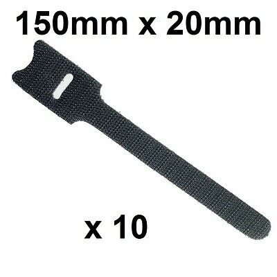 "VELCRO ONE-WRAP® - 150mm x 20mm (8"" x 1¾ "") Ties BLACK (Roll of 10 cable straps)"