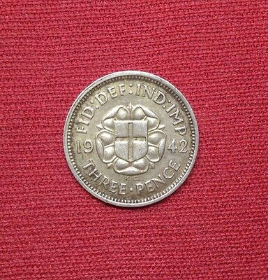 Great Britain 3 Pence, 1942, Silver WWII Coin, Issued for Colonial Use
