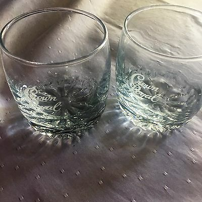 Vintage  Crown Royal  Etched Whisky Glasses Set of Two 2