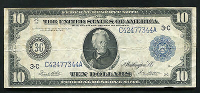 FR. 915a 1914 $10 TEN DOLLARS FRN FEDERAL RESERVE NOTE PHILADELPHIA, PA VF+