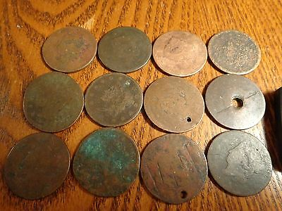 12 coin lot of Large Cents - group #2
