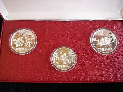 China 1980 Silver Proof 3 Coin Olympic Committee Set In Original Box With COA's