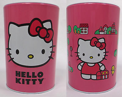 ❤️ CUTE Sanrio HELLO KITTY Pink Tin COIN BANK at School Bus Stop w Lunch box NEW