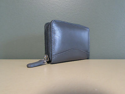 Ili Leather Credit Card Holder Card Id Case ~ Grey - One Zipper - Price Reduced!
