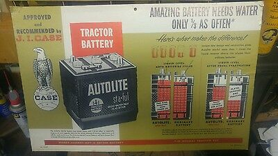Vintage Case Tractor  Autolite Battery Advertising Display Sign New Old Stock