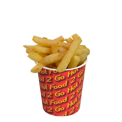 50x Chip Cup 12oz / 340g Hot Food 2 Go Print 92x95mm Chips Disposable Takeaway