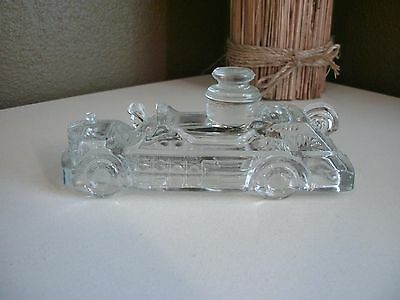 Vintage Glass Candy Container~Fire Engine~Clear