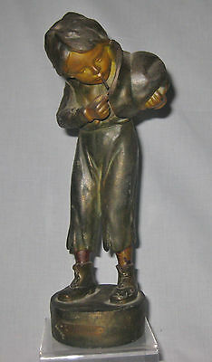 ANTIQUE 19c PATINATED BRONZE OF A YOUNG BOY