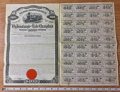 1880 Ogdensburgh and Lake Champlain Railroad Co Mortgage Bond Stock Full Stamps