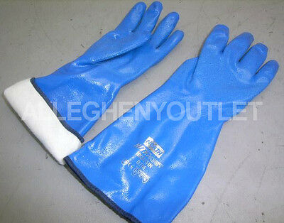 """1 Pair North 14"""" Chemical Resistant Insulated Knit Lined Blue Nitrile Gloves Med"""