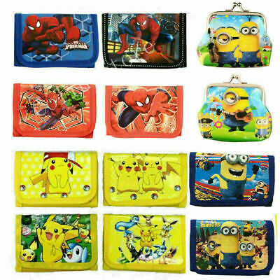 Spiderman Minions Pokemon Boys Wallet Trifold Zip Kids Cartoon Coin Purse