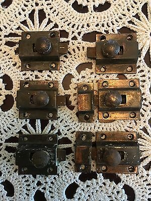 Lot Of 6 Antique Copper Cabinet Latches