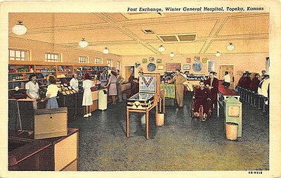 Topeka KS General Hospital Pinball Machine Curt Teich Linen Postcard