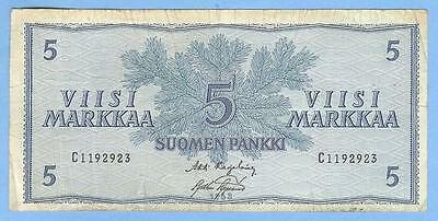 Banknote Money Currency from Finland, 5 Markkaa, 1963