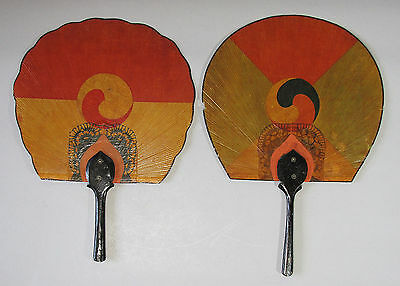 A Pair of Very Rare/Fine Korean Lacquered andPainted Tae-Keuk Hand Fans-19th C.