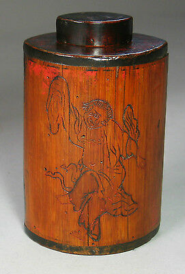 A Rare Korean Bamboo Tea Caddy Incised Poem with a Traditional dance-19th C.
