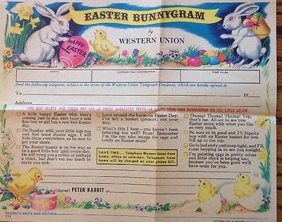 Easter Bunnygram From Western Union Telegram - Cute Vintage Ephemera!