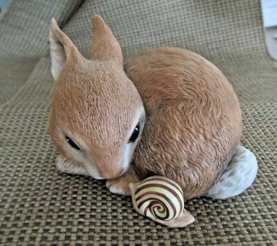 Precious! Bisque BUNNY RABBIT  w/ SNAIL  includes Cert of Authenticity F. Mint