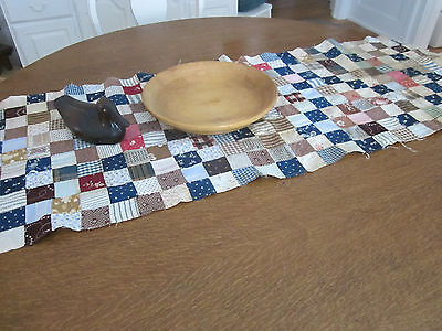 "319-1 1/2"" squares. Vintage fabrics blue,red,beige, brown table runner. Best!!"