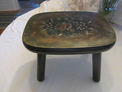 Stunning hand painted decorated  vintage wood stool/bench..