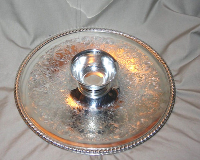 """International Silver Co. 12"""" Serving Platter With Dip Bowl"""