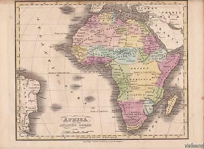 1835 AFRICA Hand-Colored Map by Nathaniel G. Huntington
